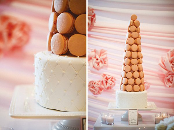 coco chanel & frnech inspired bridal shower with a macaroon tower