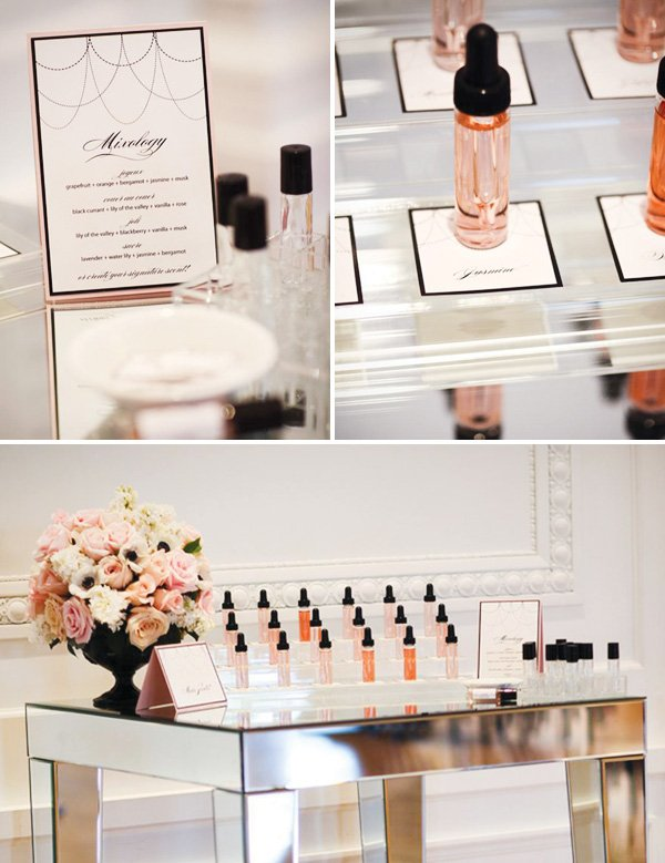 coco chanel bridal shower with perfume mixology station