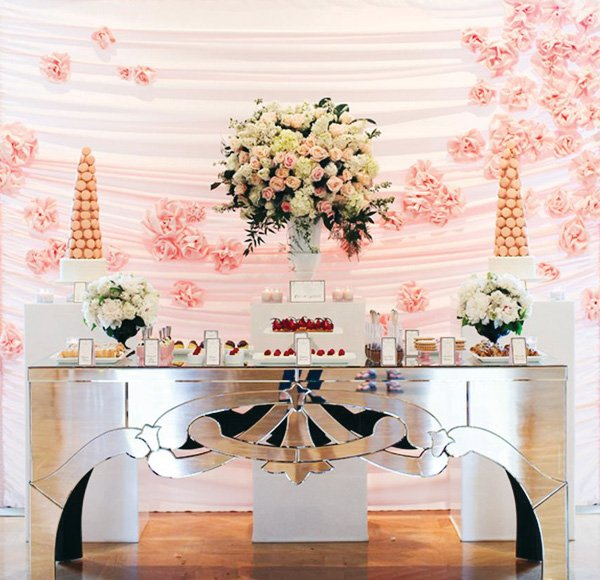 french coco chanel inspired bridal shower with a pink dessert table