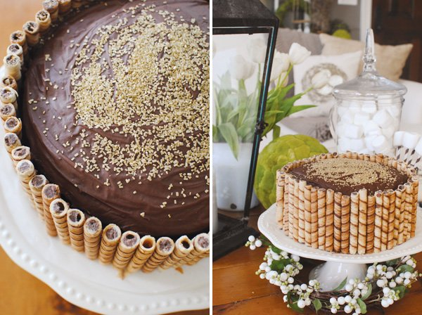 Garden themed party with chocolate cake covered in rolled hazelnut wafers