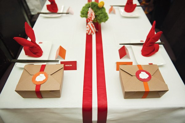 clean red and white tablescape