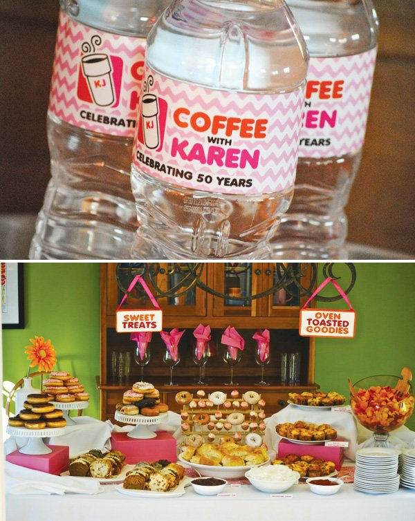 dunkin' donuts party with a dessert table