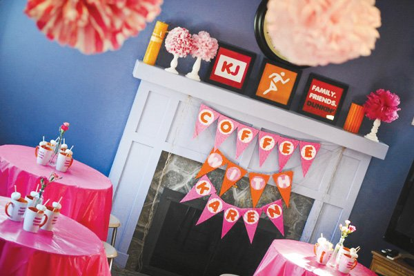 coffee inspired birthday party with fire place bunting