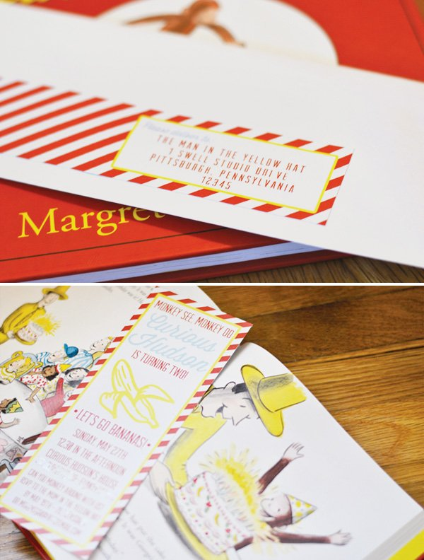 curious george striped birthday invitation and envelope label