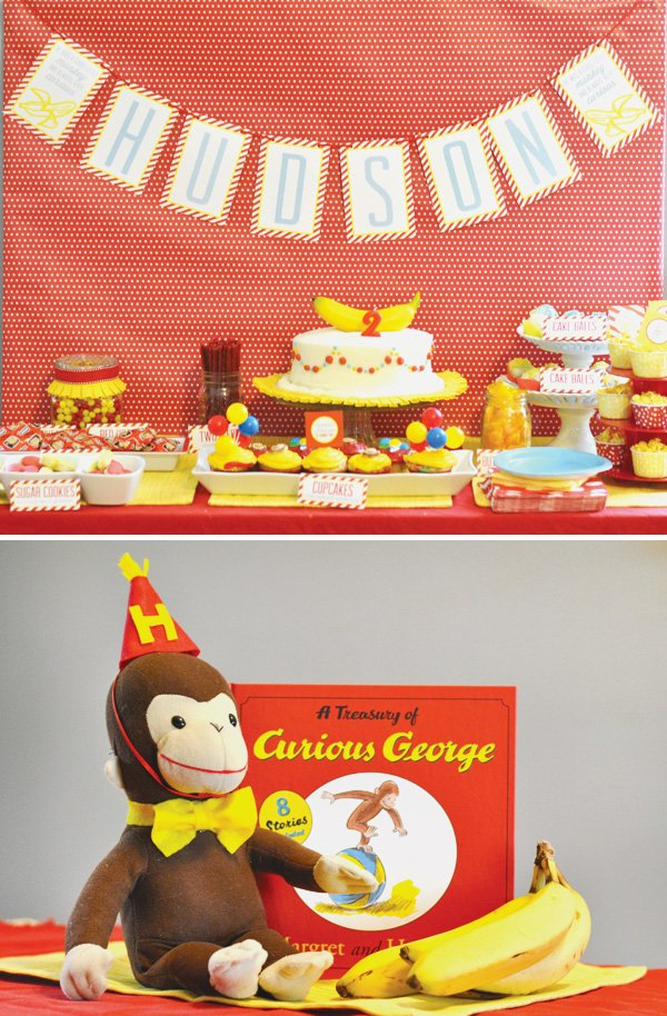 curious george inspired birthday party with red and yellow dessert table