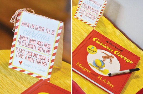 bowtie and banana birthday party with a curious george guestbook