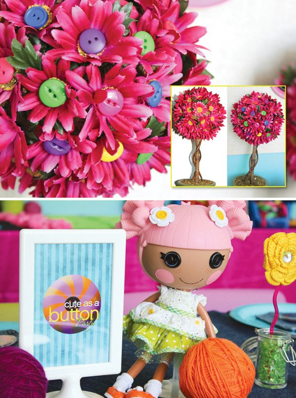 button trees with pink flowers inspired by the lalaloopsy dolls