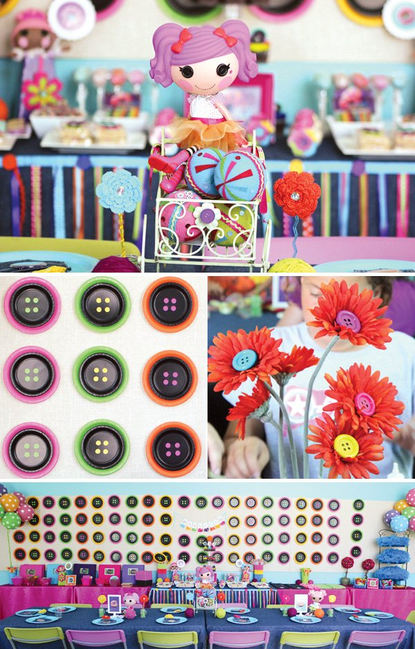 cute as a button lalaloopsy inspired backdrop with paper plates
