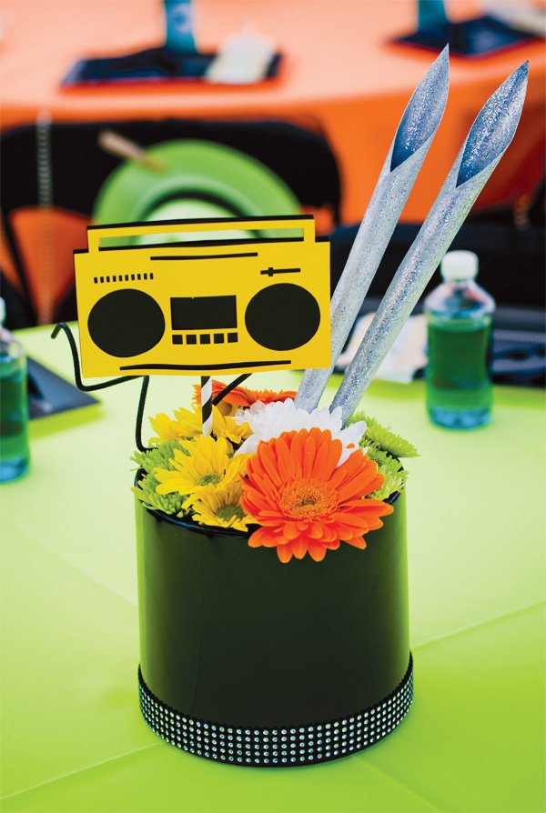 DJ party centerpiece with boombox printable