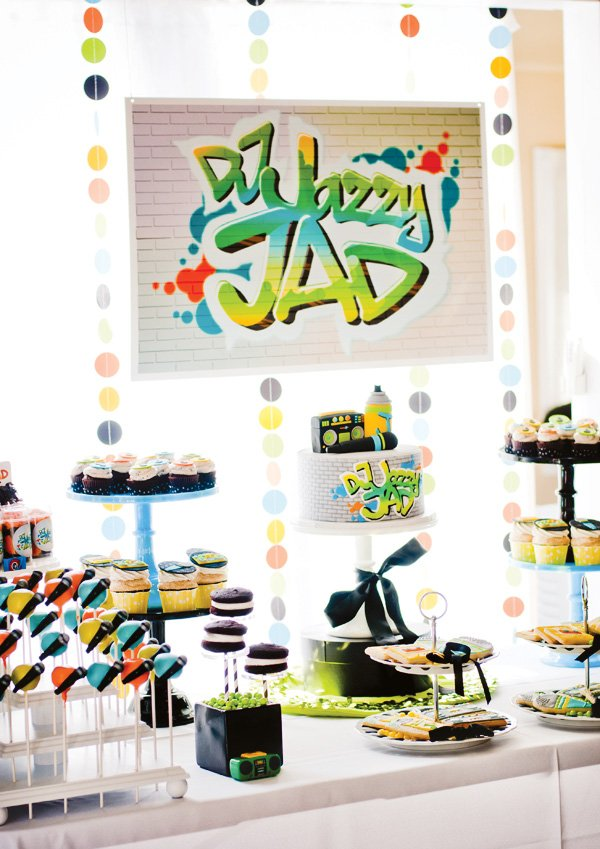 DJ Party dessert table with neon garland