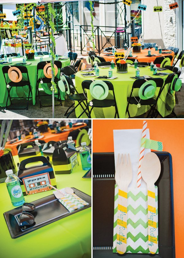 Fresh Prince of Bel Air themed party with neon decorations