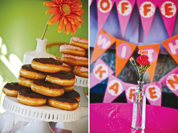 donut tower and a flower centerpiece