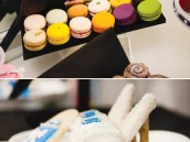 princess shoe cupcakes and makeup macaroons
