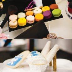 princess shoe cupcakes and makeup macaroons