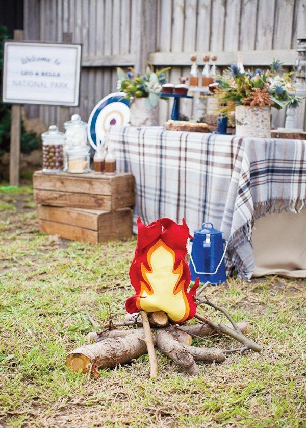 DIY felt fire and twigs
