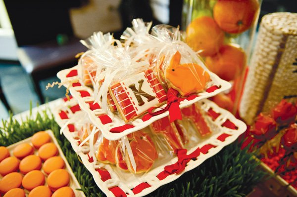 first birthday party orange and red sugar cookies