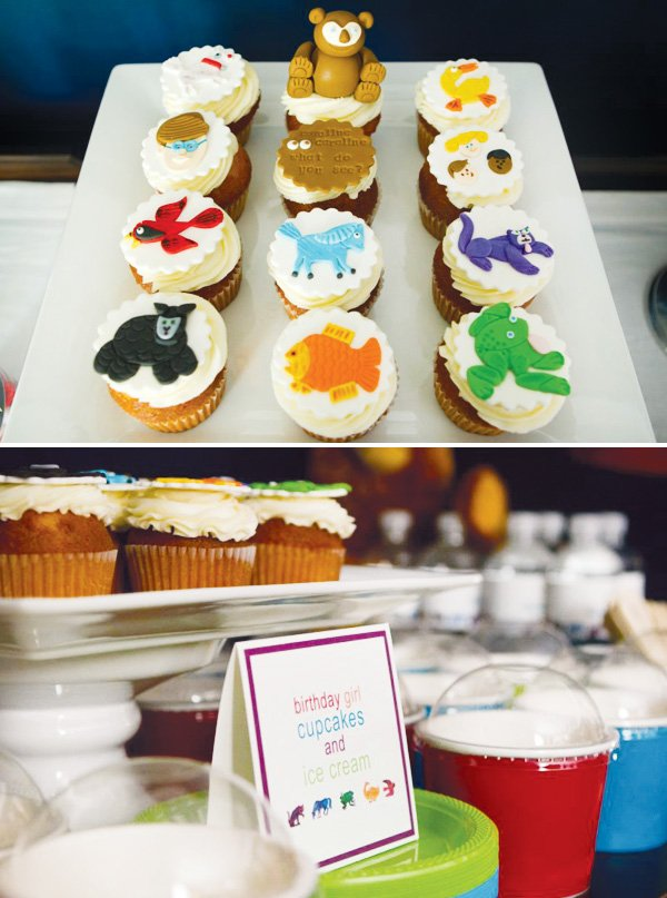 Cupcakes with animal fondant toppers