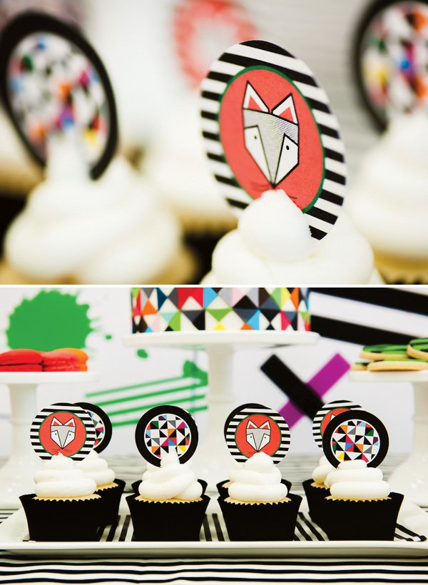 fox stripe cupcake toppers