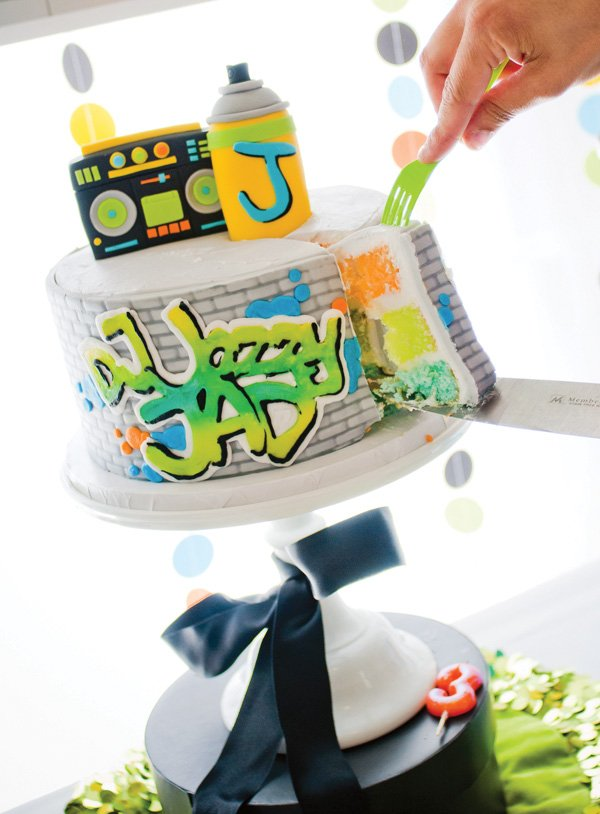 Fresh Prince of Bel Air graffiti cake with boombox and spray paint cake toppers