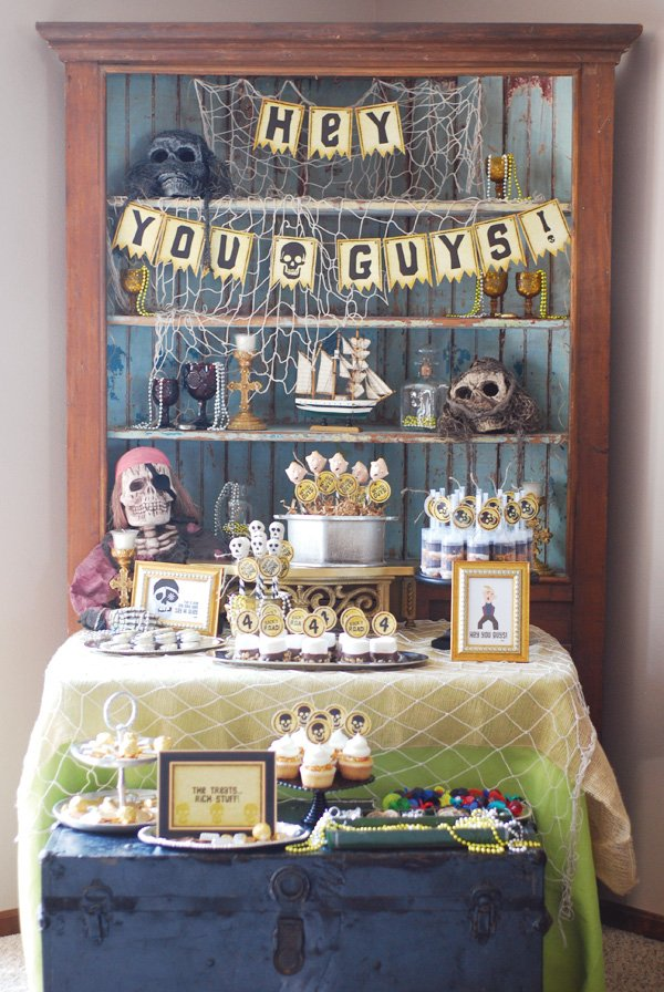 pirate themed goonies party dessert table
