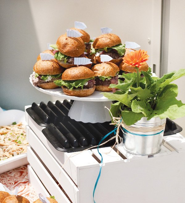 grill-out burgers with sandwich flags
