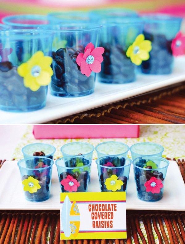 hawaiian luau party snack cups