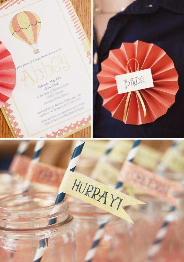 hot air balloon bridal shower invitation