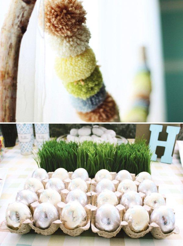 modern humpty dumpty dessert table ideas plus a yarn pom garland