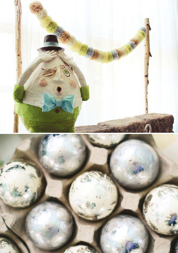 modern humpty dumpty paper mache sculpture based on the nursery rhyme