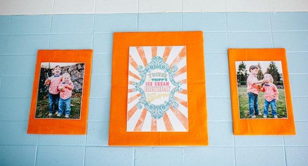 Ice Cream Party Orange Burlap Large Party Photos