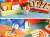 ice cream party decorations and wooden spoons