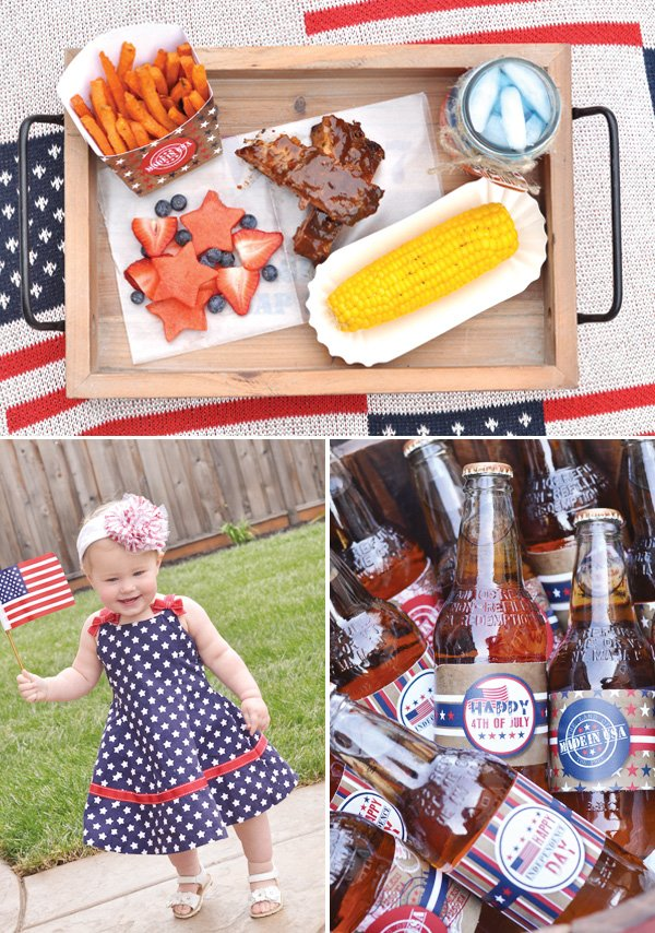 july 4th bbq with corn, cute headbands & soda labels