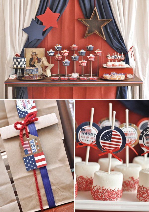 july 4th bbq dessert table with marshmallow pops
