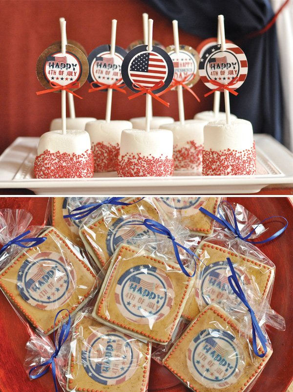 july 4th marshmallow pops and cookies for dessert