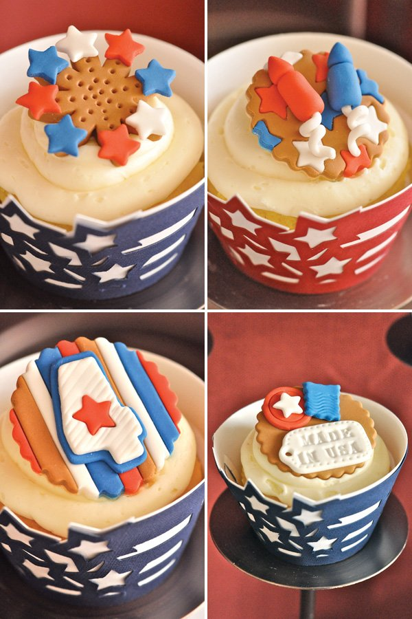 july 4th fondant cupcake toppers