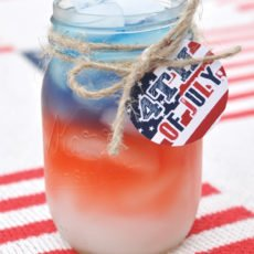 july 4th patriotic juice with a jute tag and cute printable with red white and blue colors