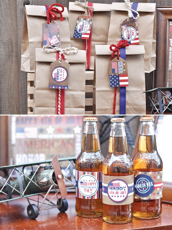 american independence day celebration soda wrappers and brown paper bag decorations