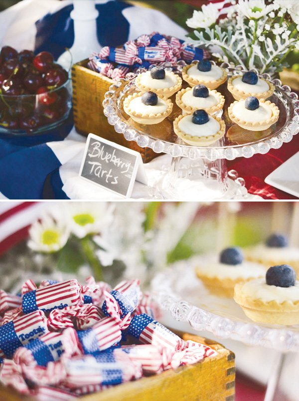 july 4th celebration with blueberry tarts