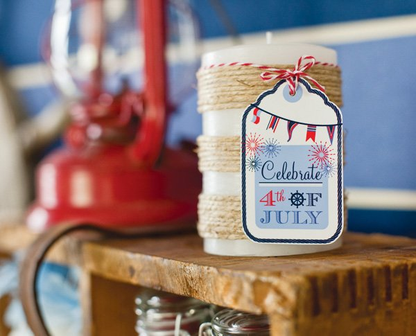 july 4th party with twin wrapped candles for party favors