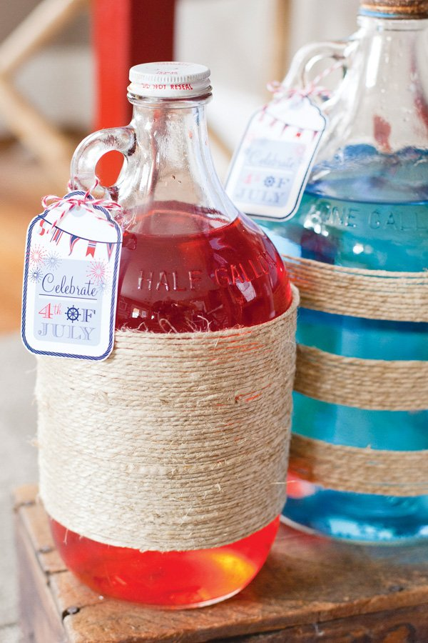 july 4th party jugs wrapped in twine