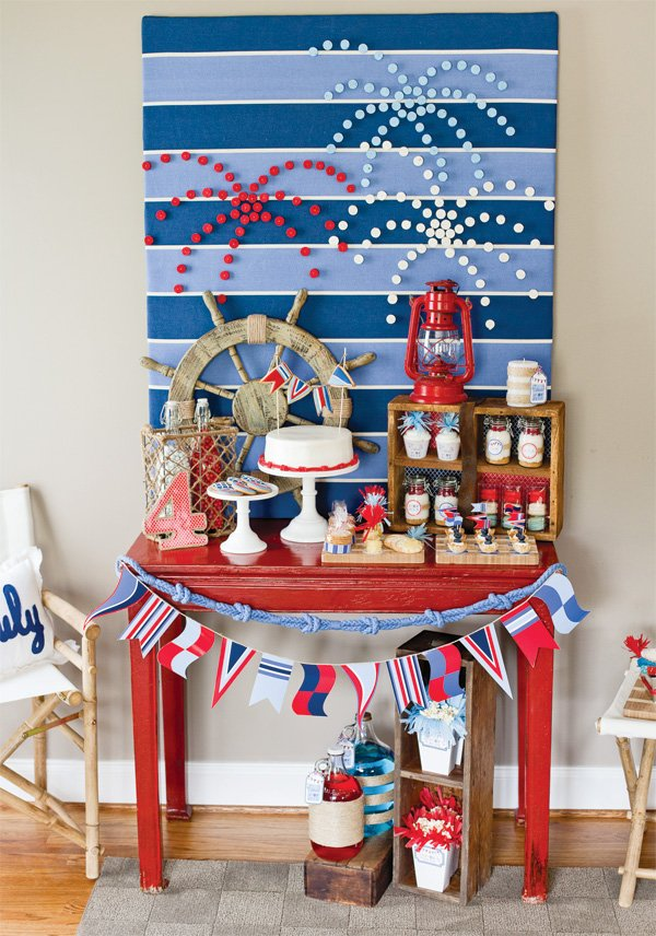 4th of july sweets table in red white and blue