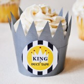 father's day ideas: king of duct tape cupcake wrapper diy tutorial