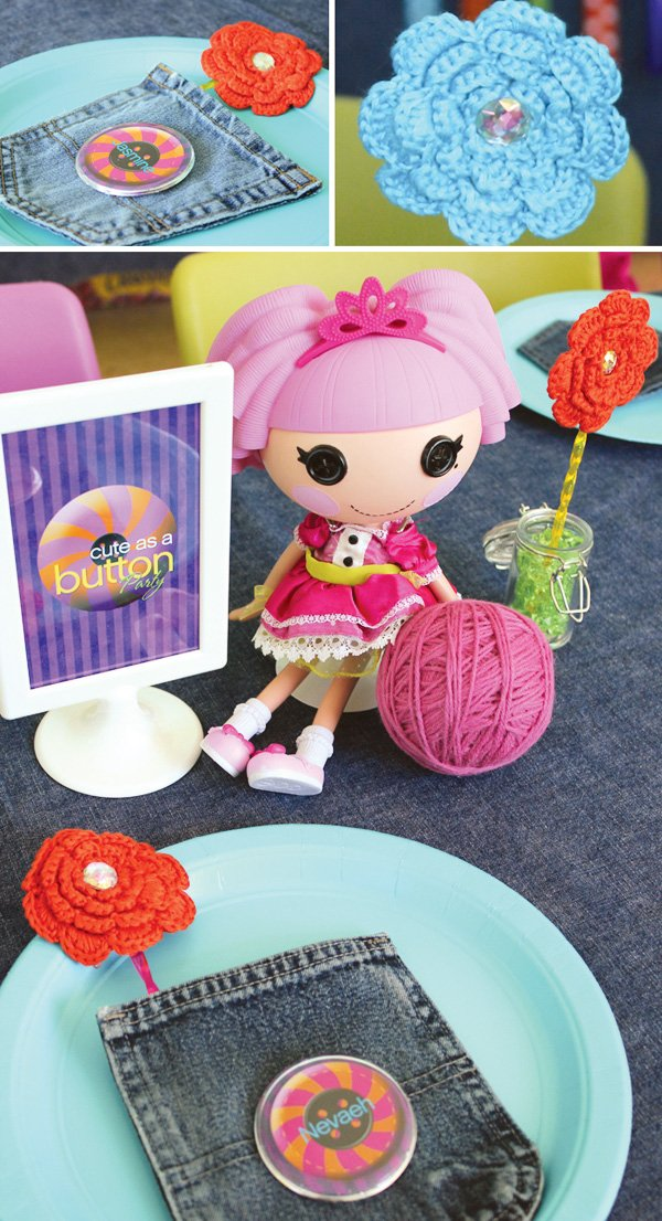 lalaloopsy button inspired centerpieces with yarnballs