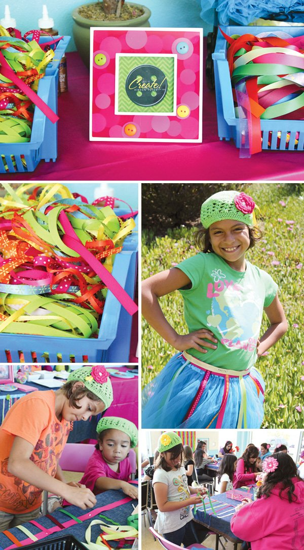 lalaloopsy party with crafting activities to make knitted hats and ribbon skirts
