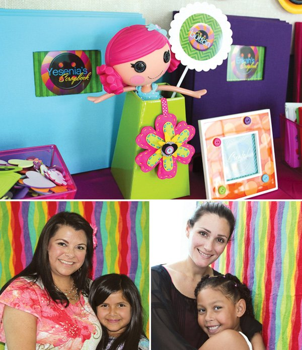 lalaloopsy rainbow streamers decorating a photo booth