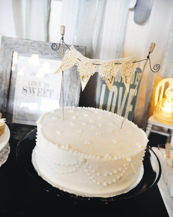 all you need is love bridal shower cake bunting