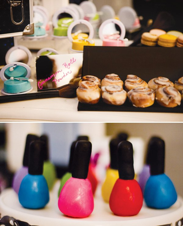 desserts decorated as makeup for a fashion show party