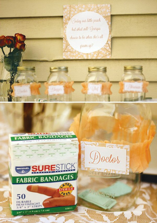 Peach crepe paper wrapped mason jars