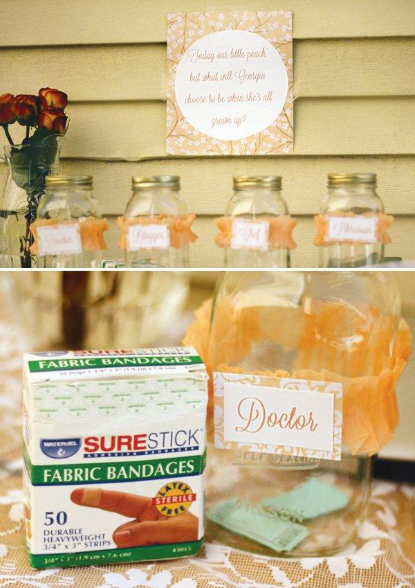 Peach crepe paper wrapped mason jars