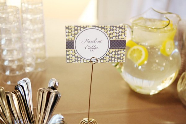 modern gray and yellow wedding food labels
